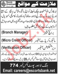 Escorts Investment Bank Jobs for Branch Managers