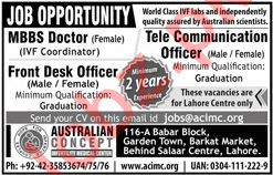 Australian Concept Infertility Medical Center Lahore Jobs