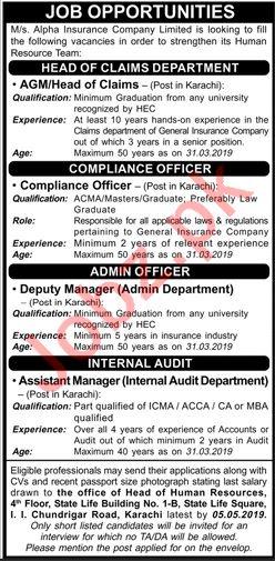 Alpha Insurance Company Limited Jobs 2019 in Karachi