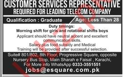 Customer Services Representative CSR Job 2019 in Karachi