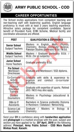 Army Public School APS COD Jobs 2019 For Karachi