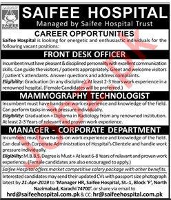 Saifee Hospital Jobs 2019 For Karachi