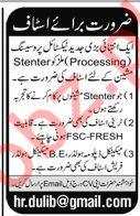 Textile Processing Mill Job 2019 in Karachi