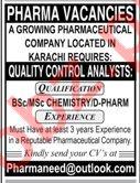 Quality Control Analysts Jobs 2019 in Karachi