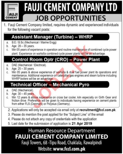 Assistant Manager Jobs in Fauji Cement Company Limited