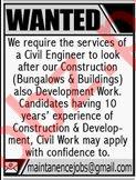 Civil Engineer Job 2019 For Karachi