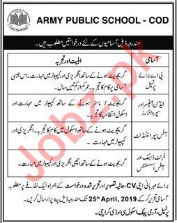 Army Public School APS COD Jobs For Karachi
