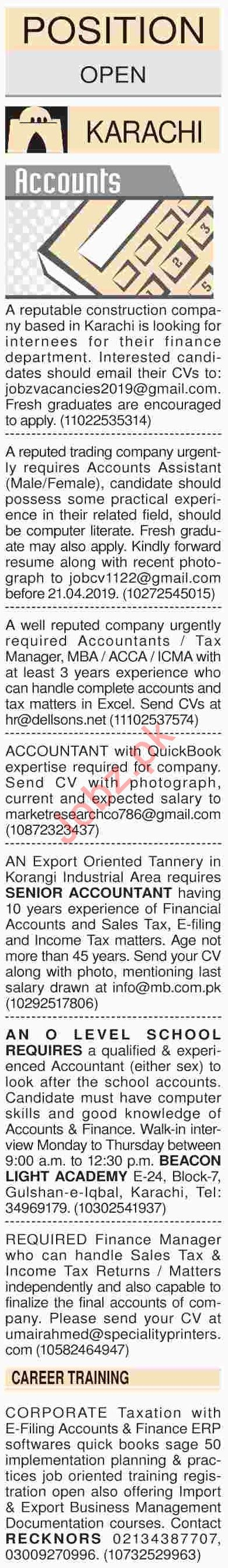 Dawn Sunday Classified Ads 14th April 2019 for Accounts