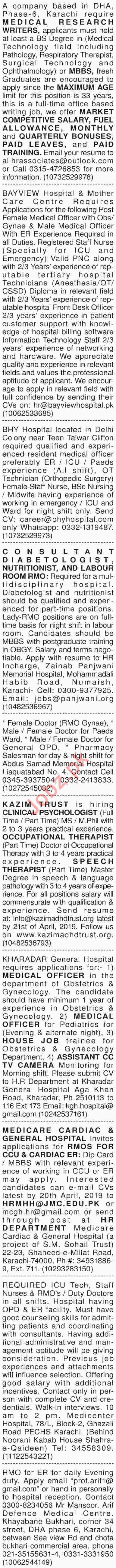 Dawn Sunday Classified Ads 14th April 2019 for Medical Staff