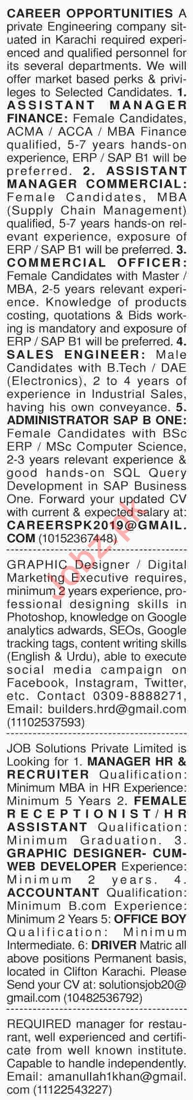 Dawn Sunday Classified Ads 14th April 2019 for Multiple