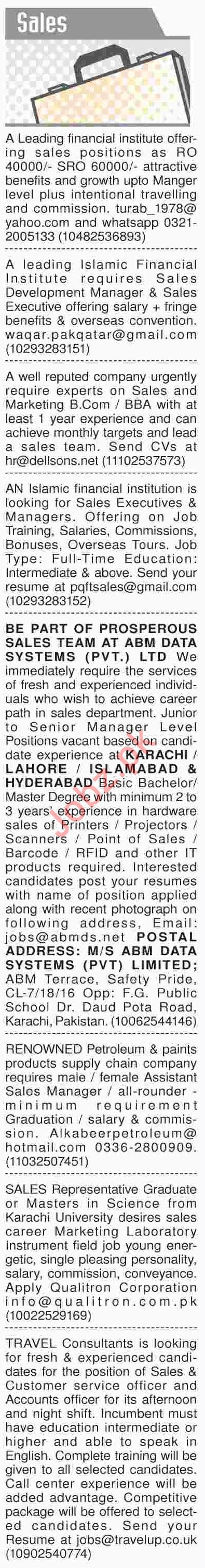 Dawn Sunday Classified Ads 14th April 2019 for Sales Staff