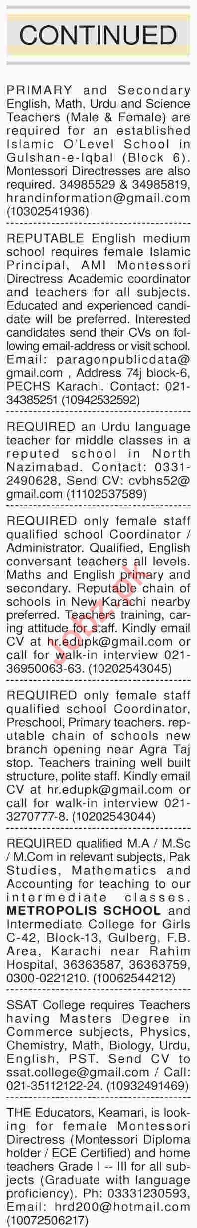 Dawn Sunday Classified Ads 14th April 2019 for Teachers