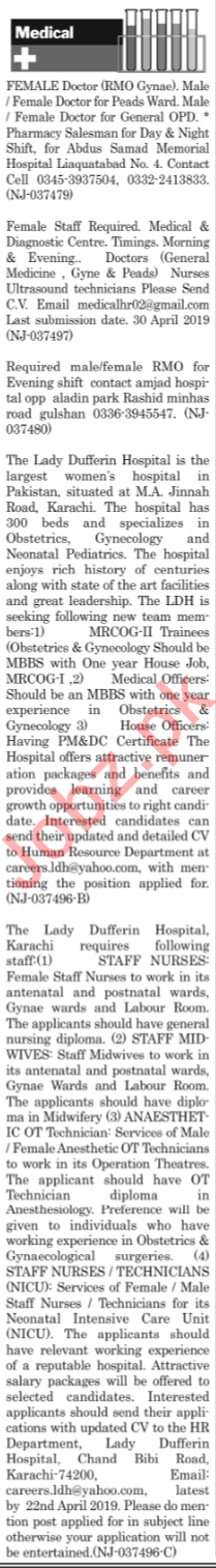 The News Sunday Classified Ads 14th April 2019 for Medical