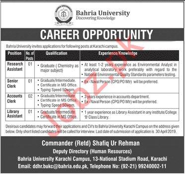 Pak Navy Bahria University Jobs 2019 For Karachi Campus