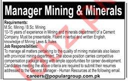 Manager Mining & Minerals Jobs 2019 in Karachi