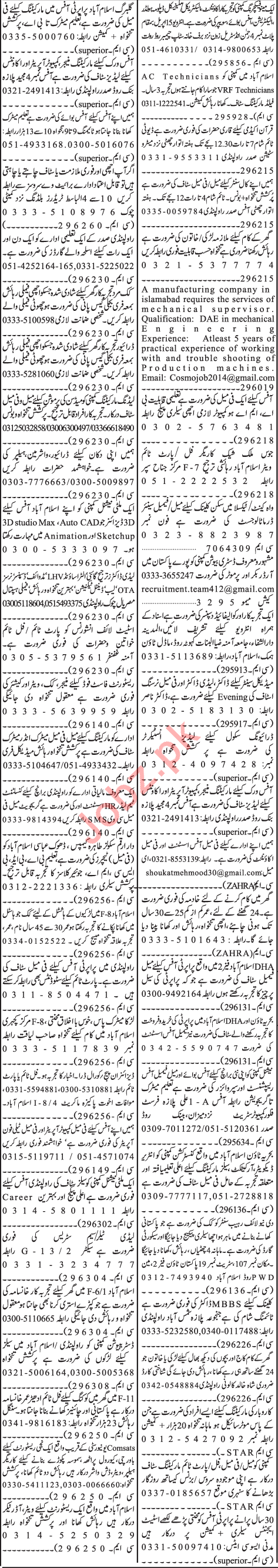 Jang Sunday Classified Ads 14th April 2019 Multiple Staff