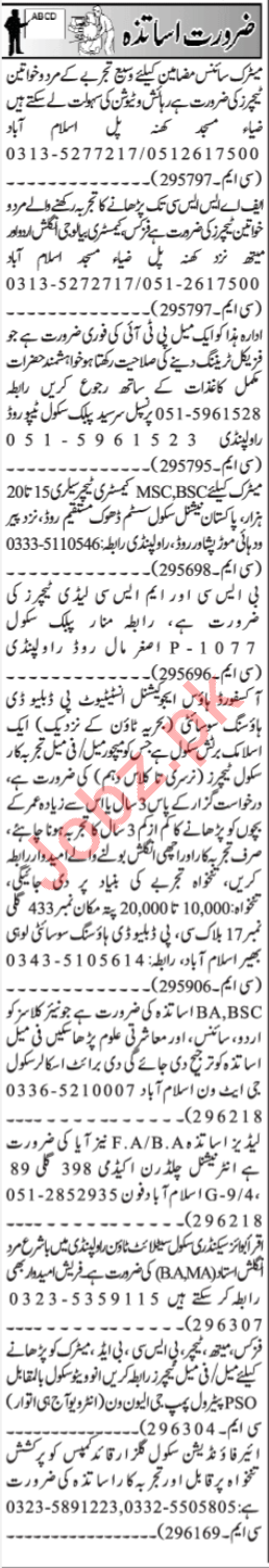 Jang Sunday Classified Ads 14th April 2019 Teaching Staff
