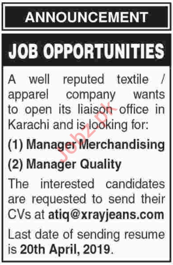 Manager Merchandising & Manager Quality Jobs 2019