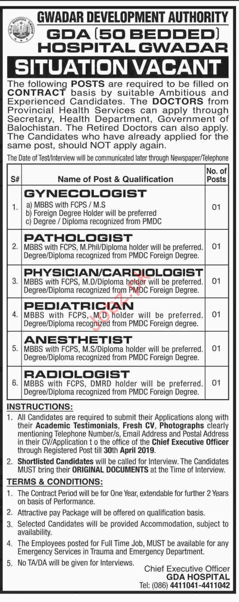 Gwadar Development Authority GDA Hospital Doctors Jobs