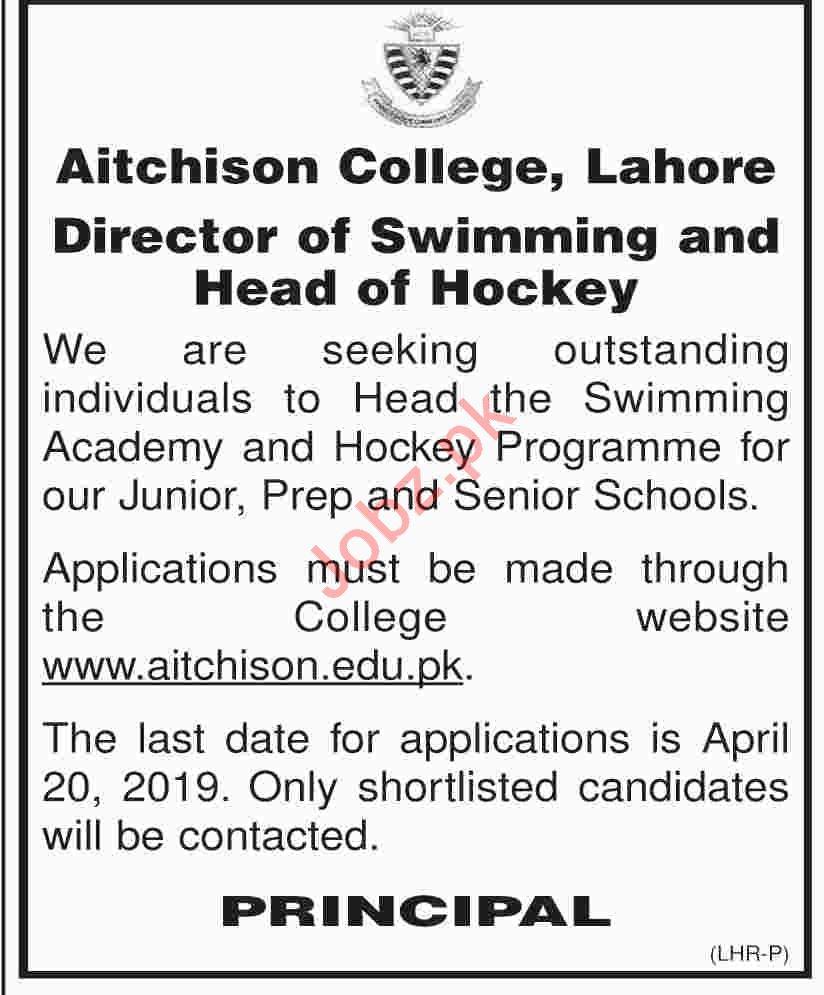 Aitchison College Lahore Job 2019