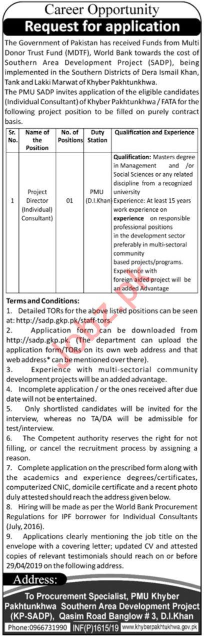 Project Management Unit PMU Jobs 2019 in Dera Ismail DI Khan
