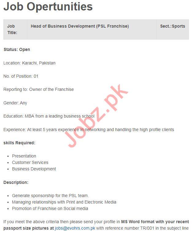 Head of Business Development Jobs 2019 in Karachi