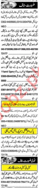 Daily Khabrain Newspaper Classified Jobs For Lahore