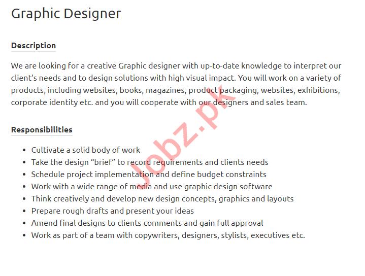 Graphic Designer Jobs Open in Karachi 2019 Job Advertisement Pakistan