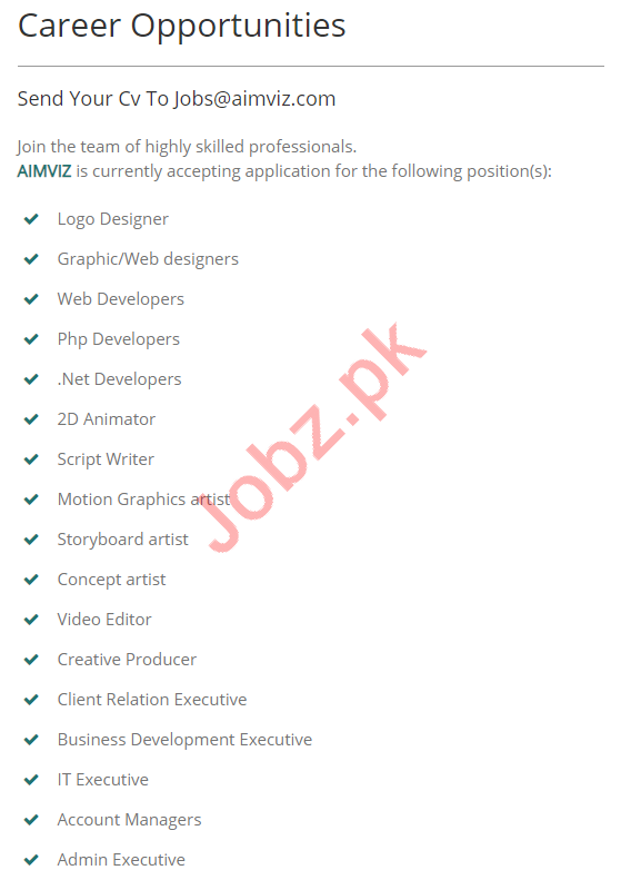 AIMVIZ Digital Media & Software Development Company Jobs
