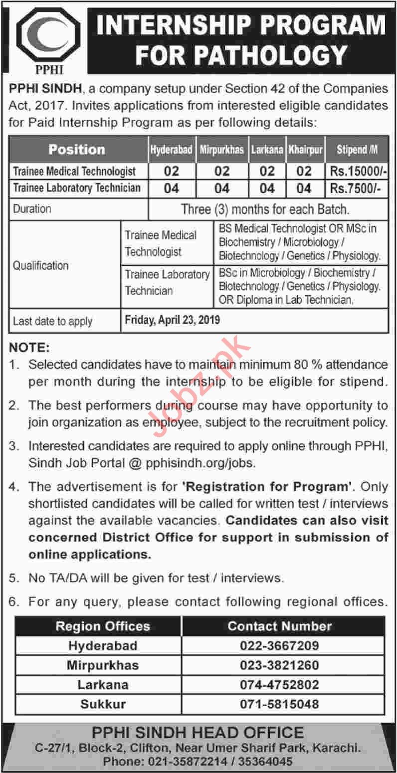 PPHI Internship Program in Sindh
