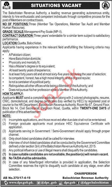 Balochistan Revenue Authority Jobs 2019