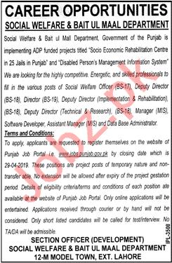 Social Welfare & Bait ul Maal Management Job  2019