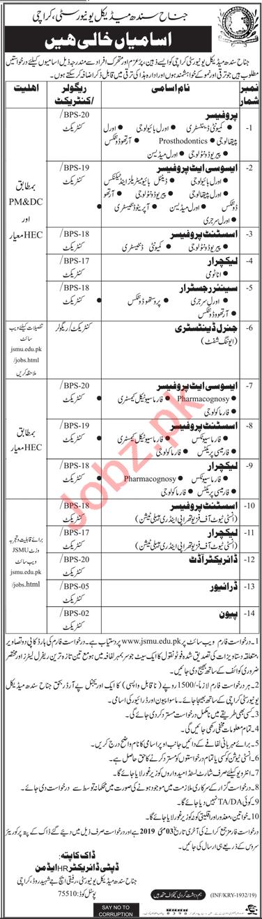 Jinnah Sindh Medical University Jobs in Karachi