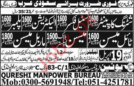 Electrician & Mason Job in Saudi Arabia