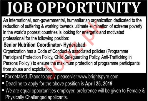 Sr Nutrition Coordinator Job 2019 in Hyderabad