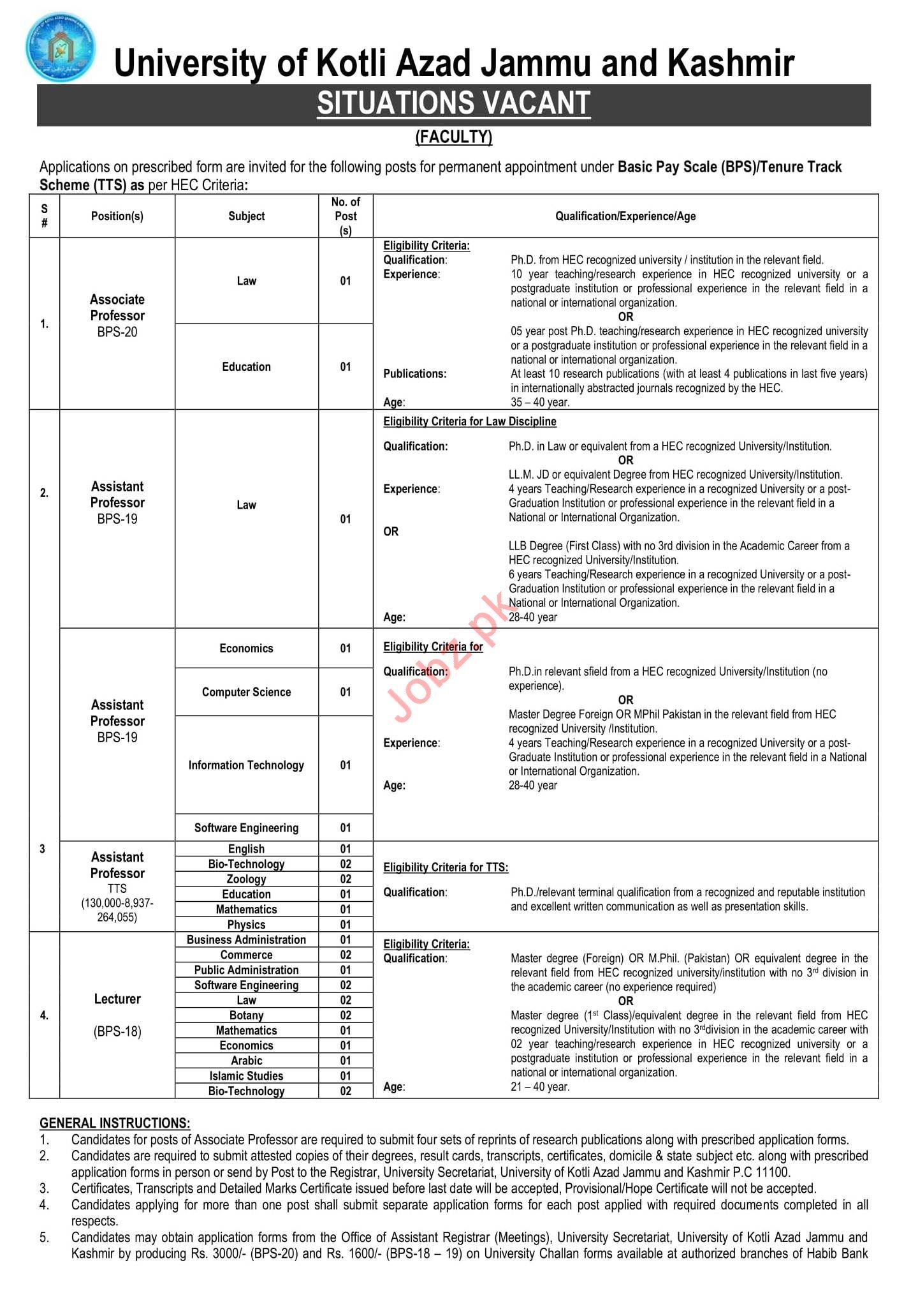 University of Kotli Azad Jammu Kashmir Jobs 2019