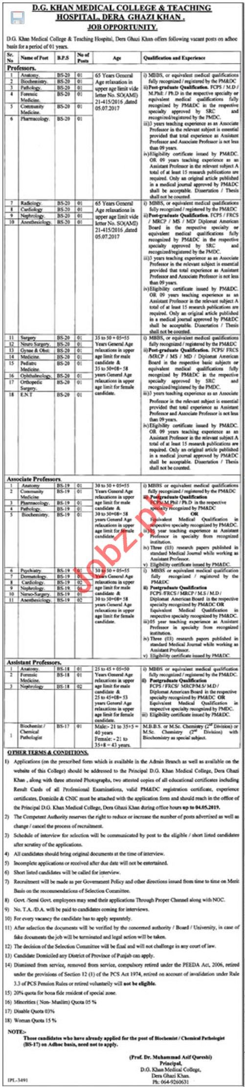 Medical College & Teaching Hospital Medical Job in DG Khan