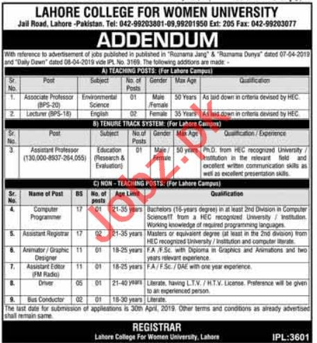 Lahore College for Woman University Job 2019