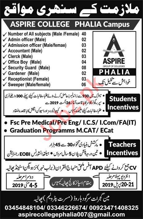 Aspire College Teaching & Non Teaching Staff Jobs 2019