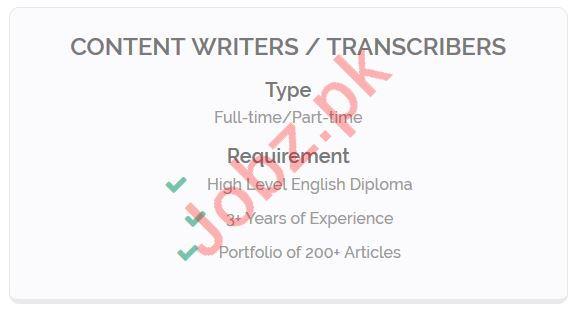 Content Writer & Transcribers Jobs 2019