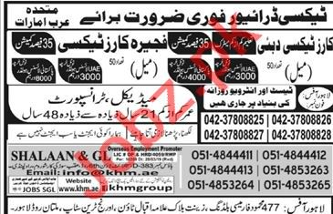 Taxi Driver job in UAE