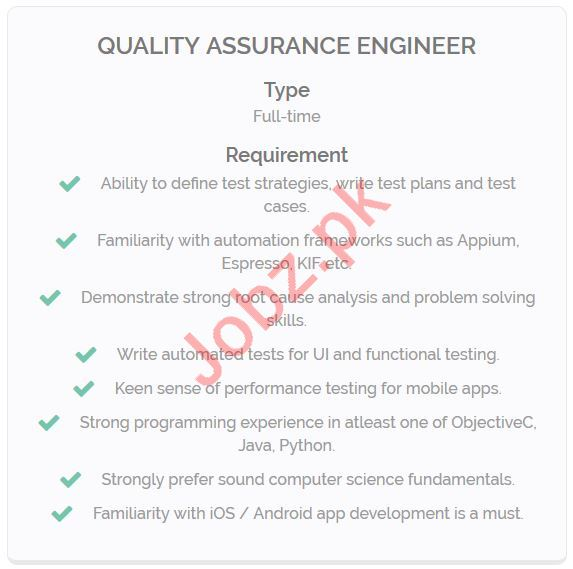 Quality Assurance Engineer Jobs Career Opportunity