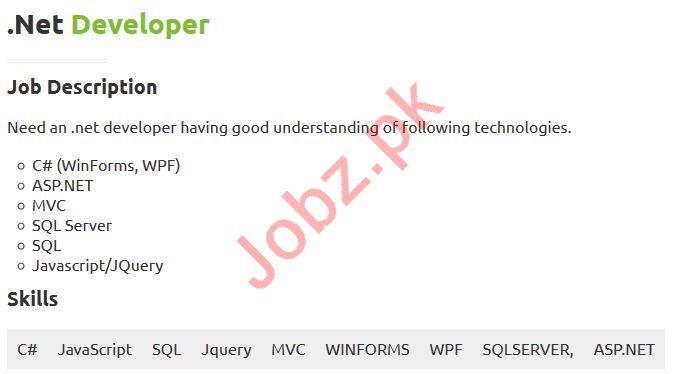 Dot Net Developer Jobs 2019 in Karachi
