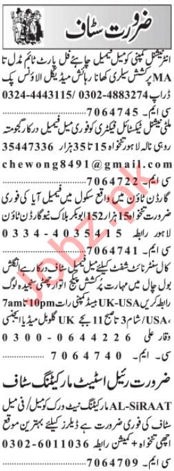 Daily Jang Miscellaneous Staff Jobs 2019 in Lahor