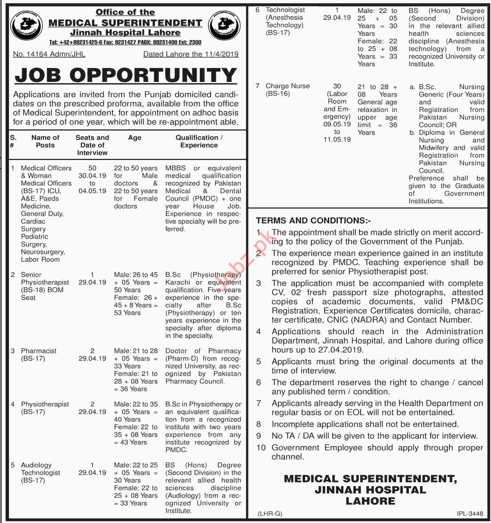 Jinnah Hospital Lahore Jobs Medical Officer & Technologist