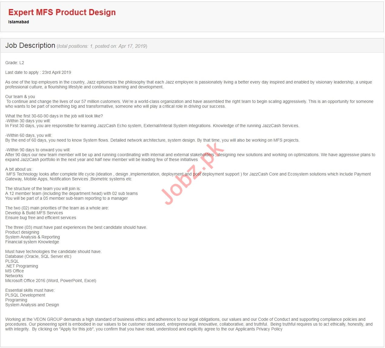 Expert MFS Product Design Jobs in Jazz Telecommunication
