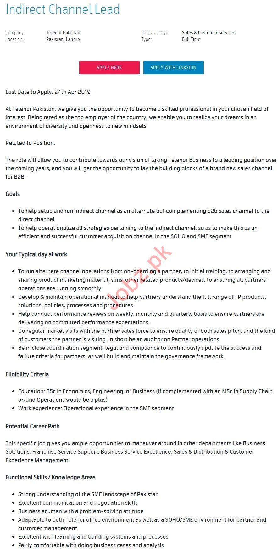 Telenor Pakistan Jobs 2019 for Indirect Channel Lead