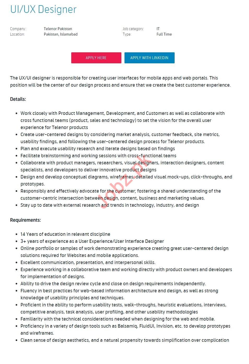 Telenor Pakistan Jobs 2019 for UX Designer