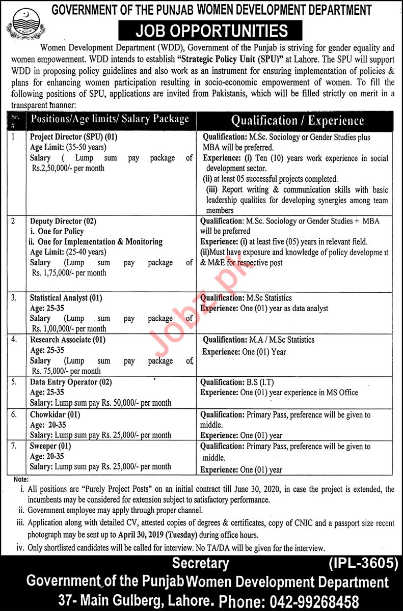 Women Development Department Management Jobs 2019