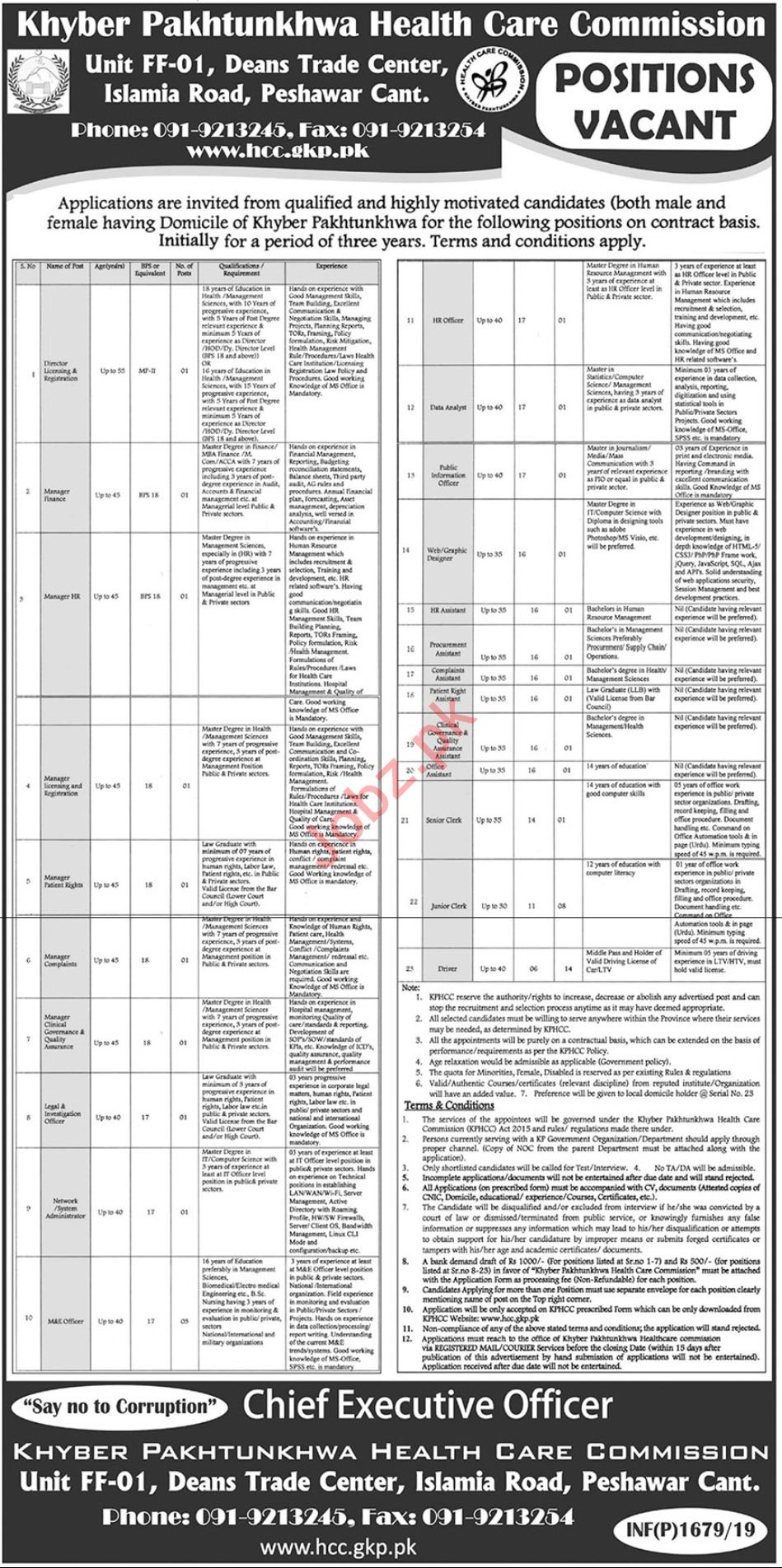 Khyber Pakhtunkhwa Healthcare Commissions Jobs 2019